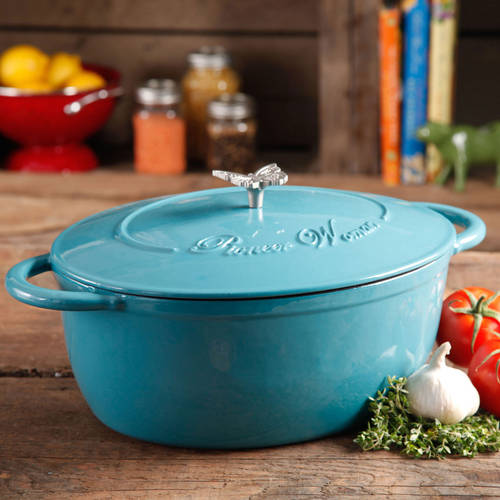 Pioneer Woman Timeless Beauty 7-Quart Dutch Oven with Bakelite Knob and Stainless Steel Butterfly Knob