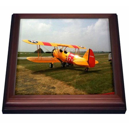 3dRose The Stearman A Pre WWII Trainer Aircraft, Trivet with Ceramic Tile, 8 by 8-inch