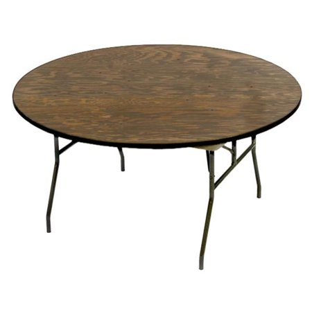 McCourt 70015 72 Inch Round Plywood Folding Table - Vinyl Edge with ...