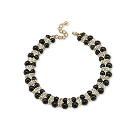 Black Beaded Necklace with Crystal Accents in Yellow Gold Tone - Black And White Bead Necklace