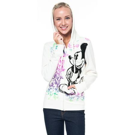 Disney Jacket - Mickey Mouse Sketch Juniors Zip Hoodie Jacket