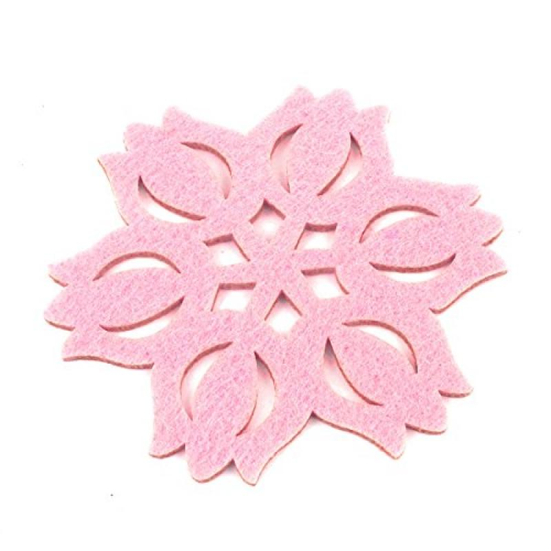 Snowflake Shape Felt Heat Insulation Pad Cup Mat Coaster Pink