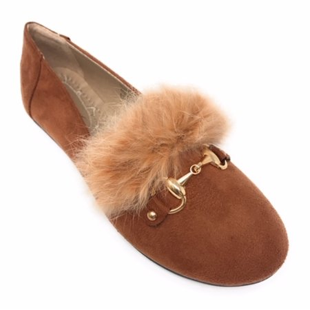 Victoria K Women's Faux Fur With Gold Buckle Ballerina Flats - Red Glitter Flats