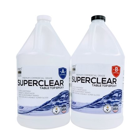 SUPERCLEAR EPOXY RESIN 2 Gallon Kit, FOR RIVER TABLES, LIVE EDGE TABLES, BAR TOPS AND COUNTERTOPS, 1:1 Ratio - Fiberglass Coatings, Inc.