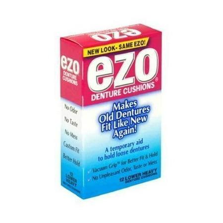 2 Pack Ezo Denture Cushions, Lower Heavy, Vacuum Grip, No Odor, No Taste 15 Each ()