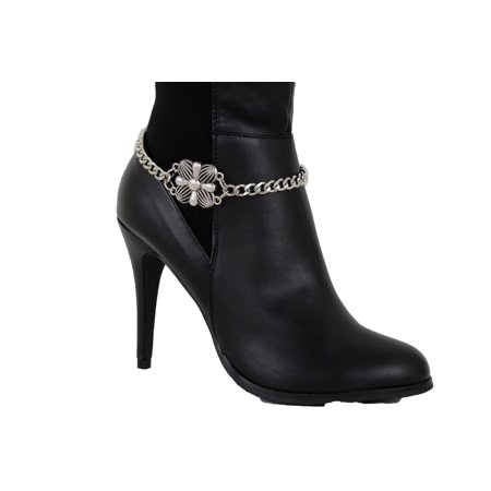 Women Silver Metal Boot Chain Bracelet Cross Filigree Floral Anklet Shoe Charm
