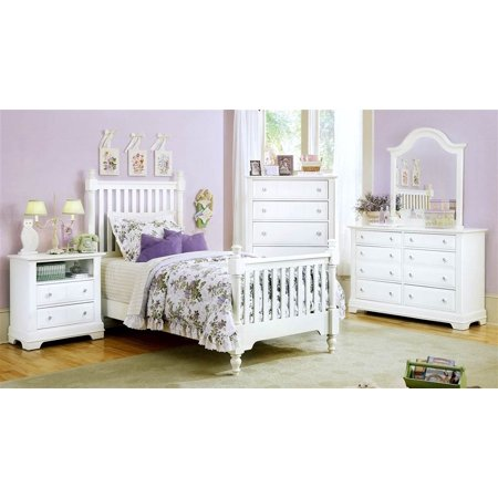 5 Pc Youth Slat Poster Bedroom Set In Snow White Finish Twin