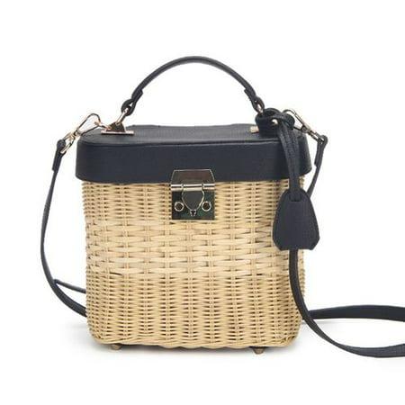 AkoaDa Lady Rattan Straw Shoulder Bag Handbag Woven Crossbody Wicker Basket Beach
