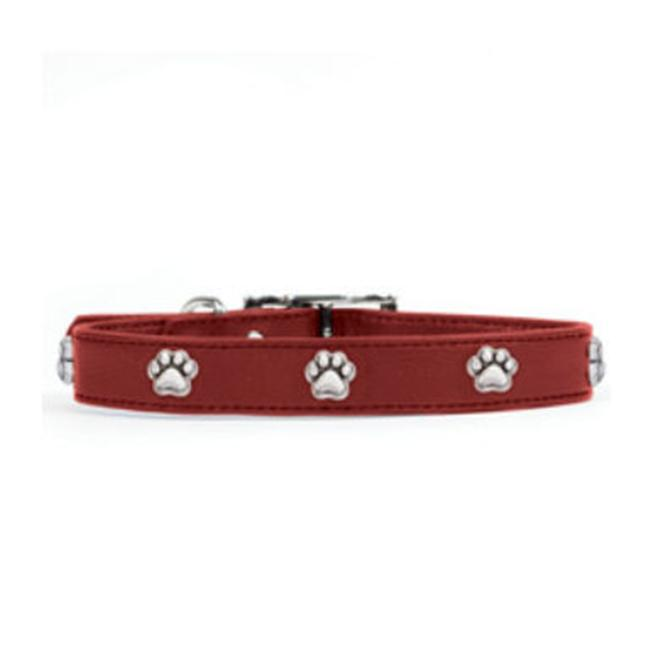 Rockinft Doggie Leather Collar with Paw Rivets