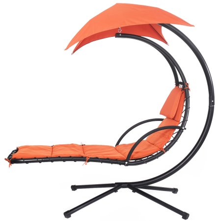 Costway Hanging Chaise Lounge Chair Arc Stand Air Porch Swing Hammock Canopy (Orange)