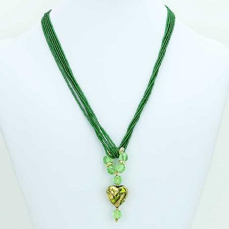 Murano Glass Heart Necklace (GlassOfVenice Murano Glass Royal Green Heart)