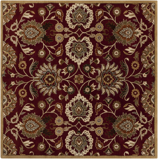4' x 4' Octavia Maroon And Caramel Decorative Square Wool Area Throw Rug