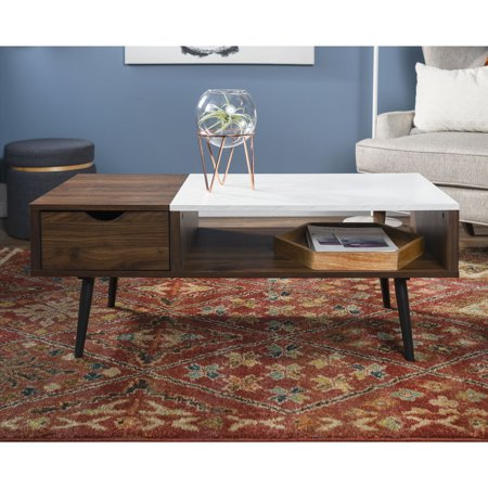 Manor Park Mid Century Modern Wood And Faux Marble Coffee Table - Walnut and marble coffee table