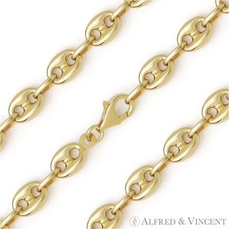 8mm Puffed Marina / Mariner Link Italian Chain Necklace in 14k Plated .925 Sterling Silver