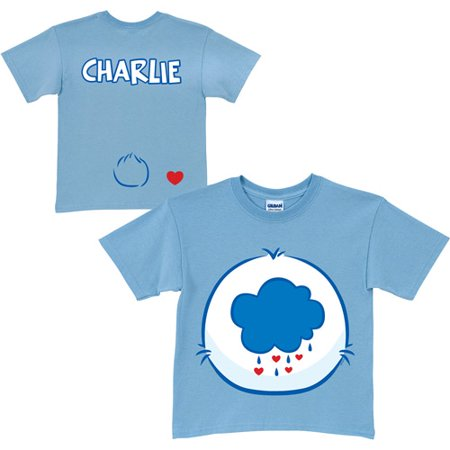 Personalized Care Bears Grumpy Bear Belly Badge Youth Light Blue T-Shirt