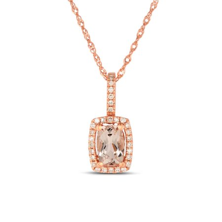 Drop Pendant 1.25 Carat Cushion Cut Real Morganite and Diamond Halo Necklace in 18k Rose Gold Over Silver