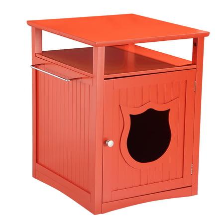 Pethuphup Kitty Cat Thunderbox Cat Litter Box Enclosure Cherry