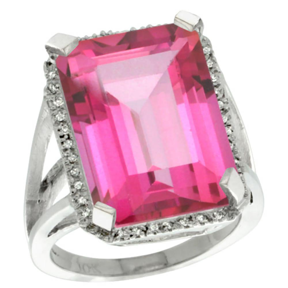 10K White Gold Diamond Natural Pink Topaz Ring Emerald-cut 18x13mm, size 5 by Gabriella Gold