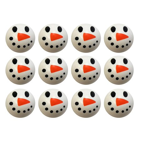 Bulk 12 Snowman Bouncy Balls - Winter Party Supplies Favor Set - 12 Snowman - Bouncy Balls Bulk