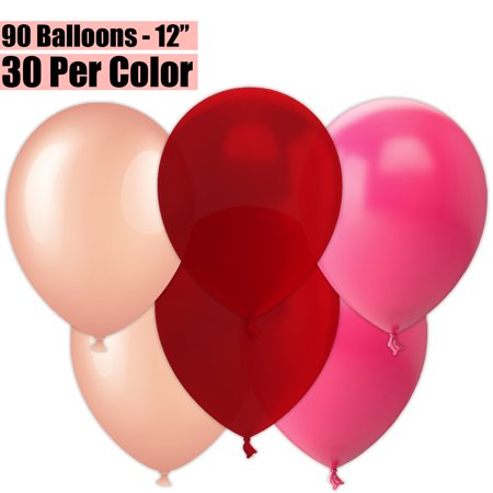 12 Inch Party Balloons, 90 Count - Metallic Rose Gold + Burgundy Wine + Fuchsia - 30 Per Color. Helium Quality Bulk Latex Balloons In 3 Assorted Colors - For Birthdays, Holidays, Celebrations, and ()