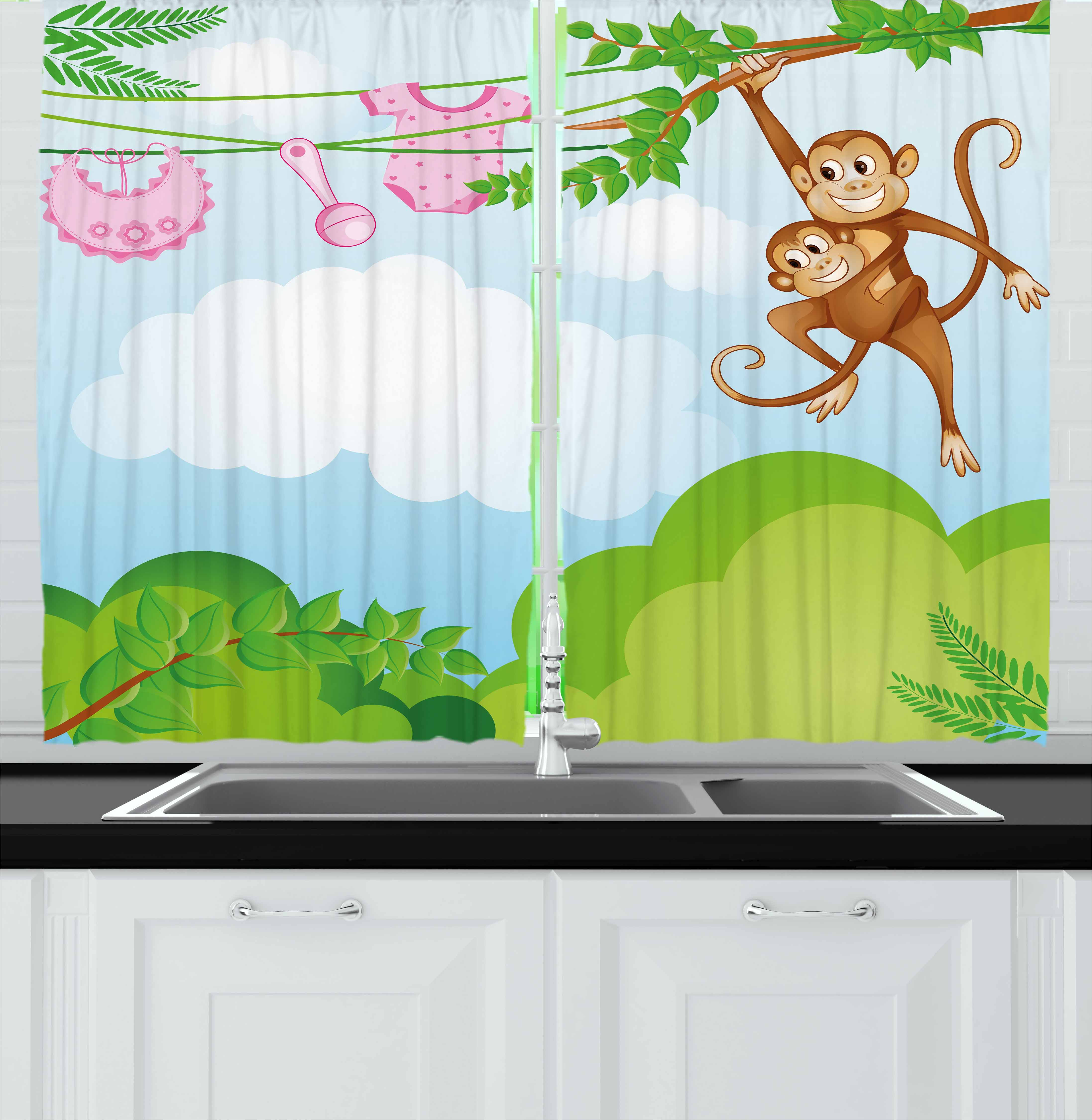 Nursery Curtains 2 Panels Set, Monkey Swinging with the Kid Baby Clothes Chimpanzee Jungle Joy Togetherness, Window Drapes for Living Room Bedroom, 55W X 39L Inches, Green Brown Pink, by Ambesonne