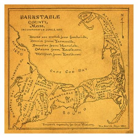 buyartforless Vintage Barnstable County Map Wall Art - Walmart.com