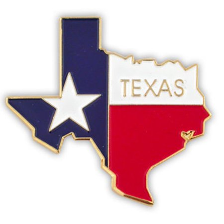 State Design Lapel Pin - PinMart's State Shape of Texas  and Texas Flag Lapel Pin