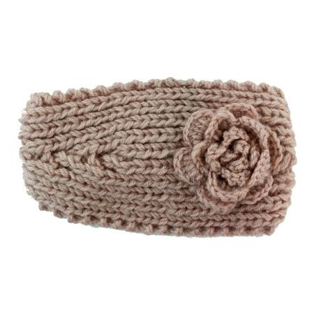 Knitted Flower Winter Headband (Large)  (Peach Cream)