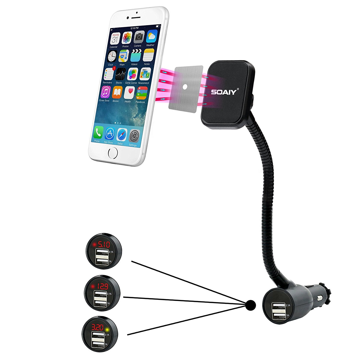 Magnetic Phone Mount, SOAIY 3-in-1 Cigarette Lighter Cell Phone Holder for Car + 2 USB Port Car Charger + Voltage Detector, for iPhone X 8 8 Plus 7 Samsung Galaxy S9 S8 S7 LG Nexus Sony Nokia and More
