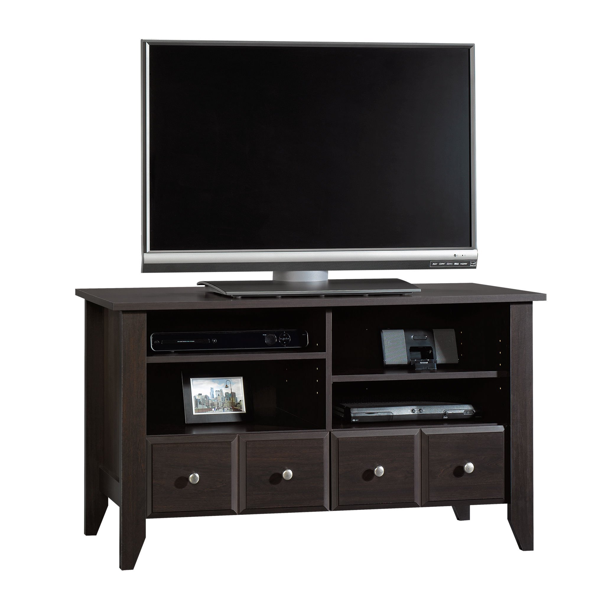 "Sauder Shoal Creek Panel TV Stand for TVs up to 42"", Jamocha Wood Finish"