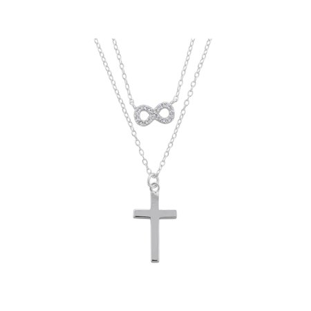 CZ Rhodium over Sterling Silver Double Layered Infinity and Polished Cross Necklace, 18