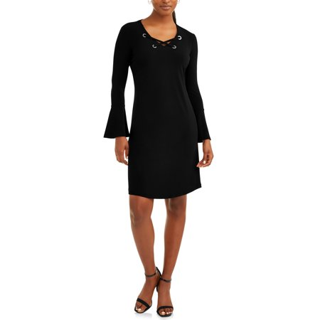 Women's Lace Up Dress with Flare Sleeve (A To Z Dress Up)