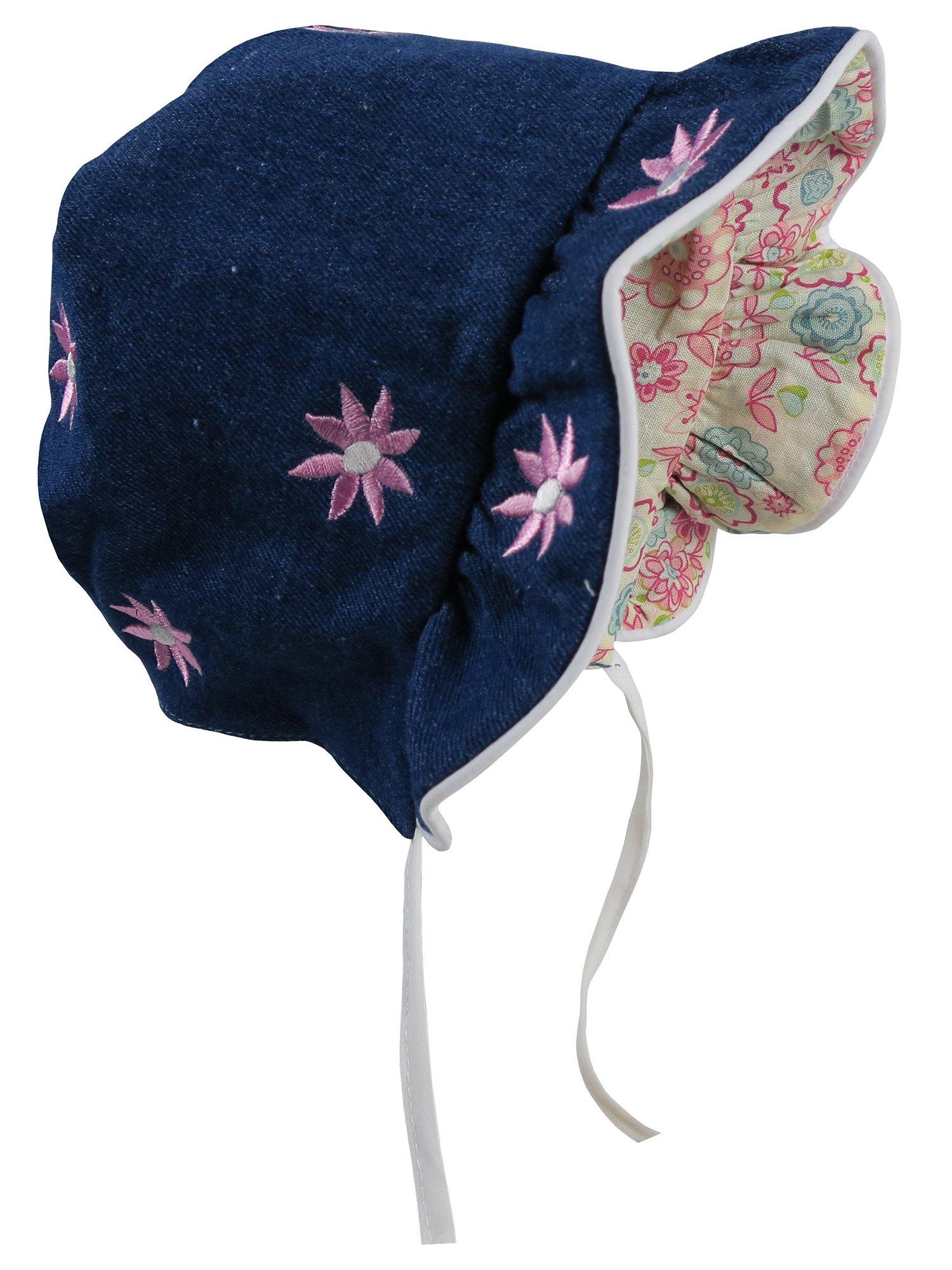 NICE CAPS Baby Girls Infants Solid to Print Reversible Summer Sun Bonnet Cap Hat Headwear