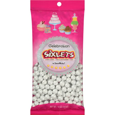 Celebration by SweetWorks Sixlets Chocolate Flavored White Candy, 14 oz - White Chocolate Dipped Strawberries Halloween