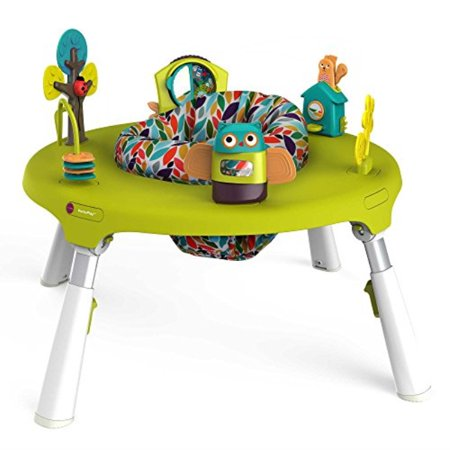oribel portaplay 4-in-1 foldIle travel activity center, turn, bounce, play, transform - forest
