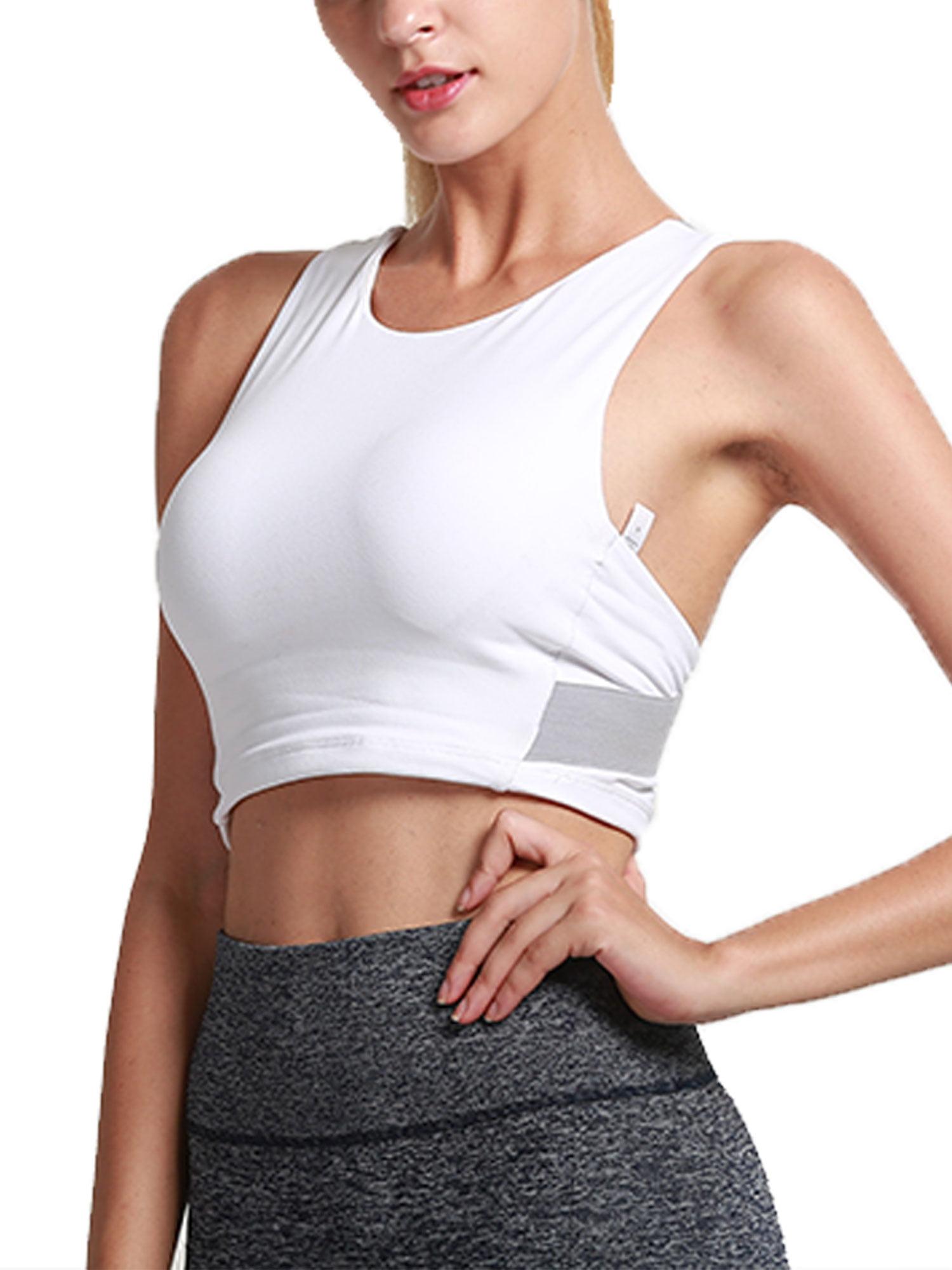 Women Yoga Fitness Stretch Workout Seamless Racerback Padded Sports Bra Tank Top