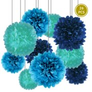 Quasimoon Tissue Paper Pom Poms Party Pack (6 -Inch to 20-Inch, Various Blues, Set of 26) - for Weddings, Baby Showers, Nurseries, Parties - Hanging Paper Flower Ball Decorations