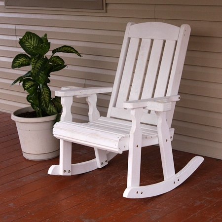 meet fc7c6 b2c39 Amish Heavy Duty 600 Lb Mission Pressure Treated Rocking Chair With  Cupholders (Semi-Solid White Stain)