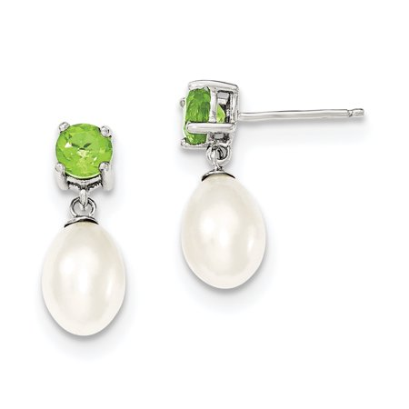 Sterling Silver Peridot & 7-8mm Freshwater Cultured Pearl Teardrop Earrings