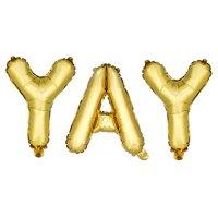 Gold YAY Mylar Balloon