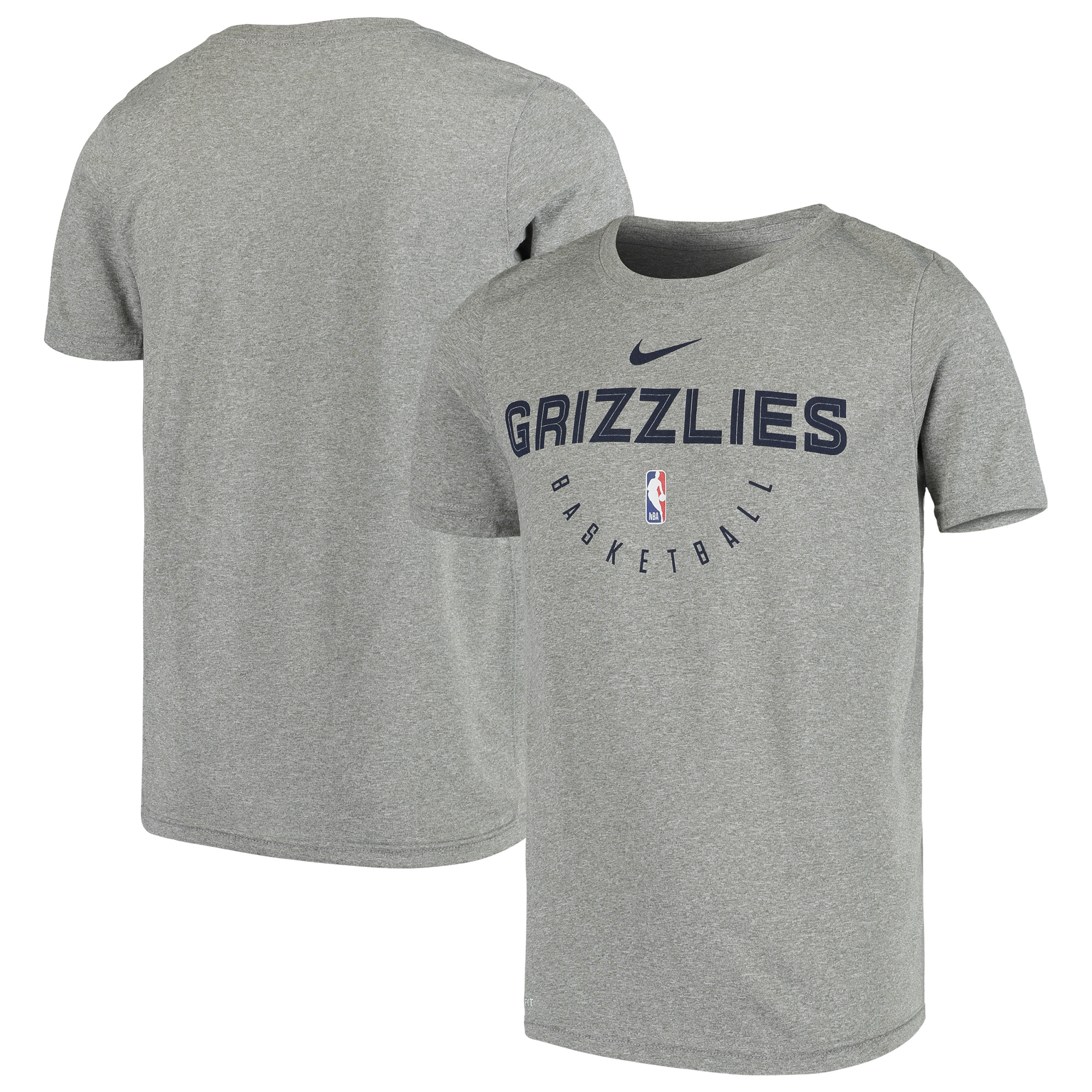 Memphis Grizzlies Nike Youth Practice Logo Legend Performance T-Shirt - Heathered Gray