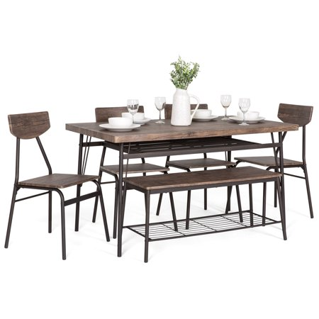 Best Choice Products 6-Piece 55in Wooden Modern Dining Set for Home, Kitchen, Dining Room w/ Storage Racks, Rectangular Table, Bench, 4 Chairs, Steel Frame, Brown ()