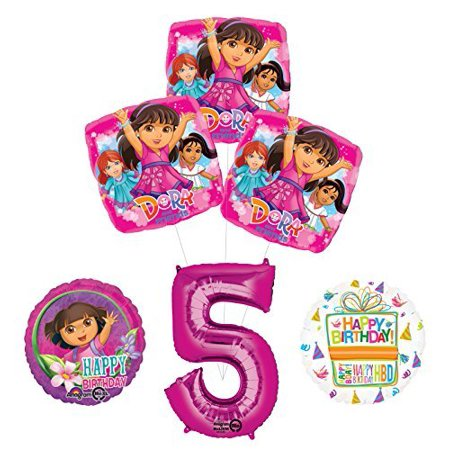 Dora the Explorer 5th Birthday Party Supplies and Balloon Bouquet Decorations