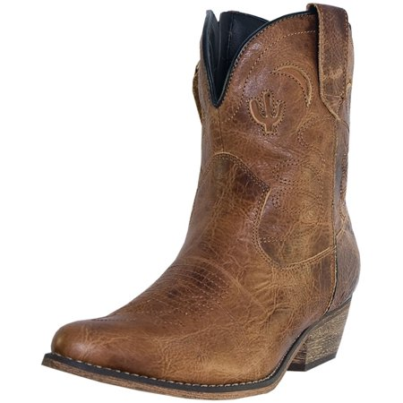 Dingo Fashion Boots Womens Adobe Rose Side Zip Light Brown DI - Adobe Leather