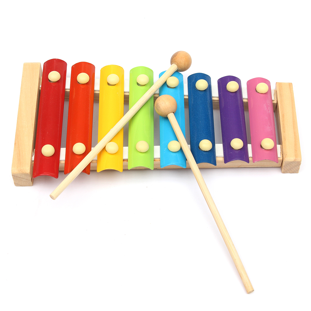colorful 8 tones music/rhythm/color learning educational instruments toys  hand knock xylophone with 2 wooden mallets kids children toddlers