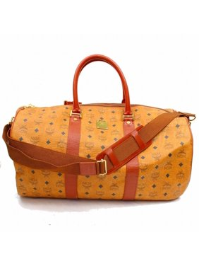 63bf53785bb2 Product Image Cognac Monogram Visetos Voyager Duffle Boston with Strap  868144 Brown Coated Canvas Weekend Travel Bag. MCM