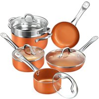 SHINEURI 10-Pieces Cookware Set With Ceramic Non Stick Copper Coating Induction Compatible Pots and Pans Set With Lids Dish Washer and Oven Safe