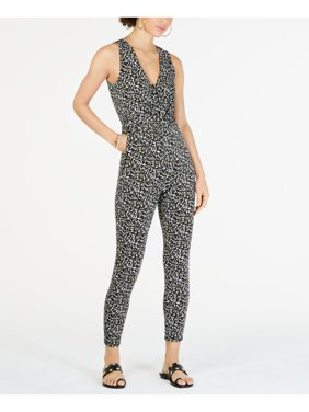 MICHAEL KORS Womens Green Printed Sleeveless V Neck Skinny Jumpsuit  Size: S