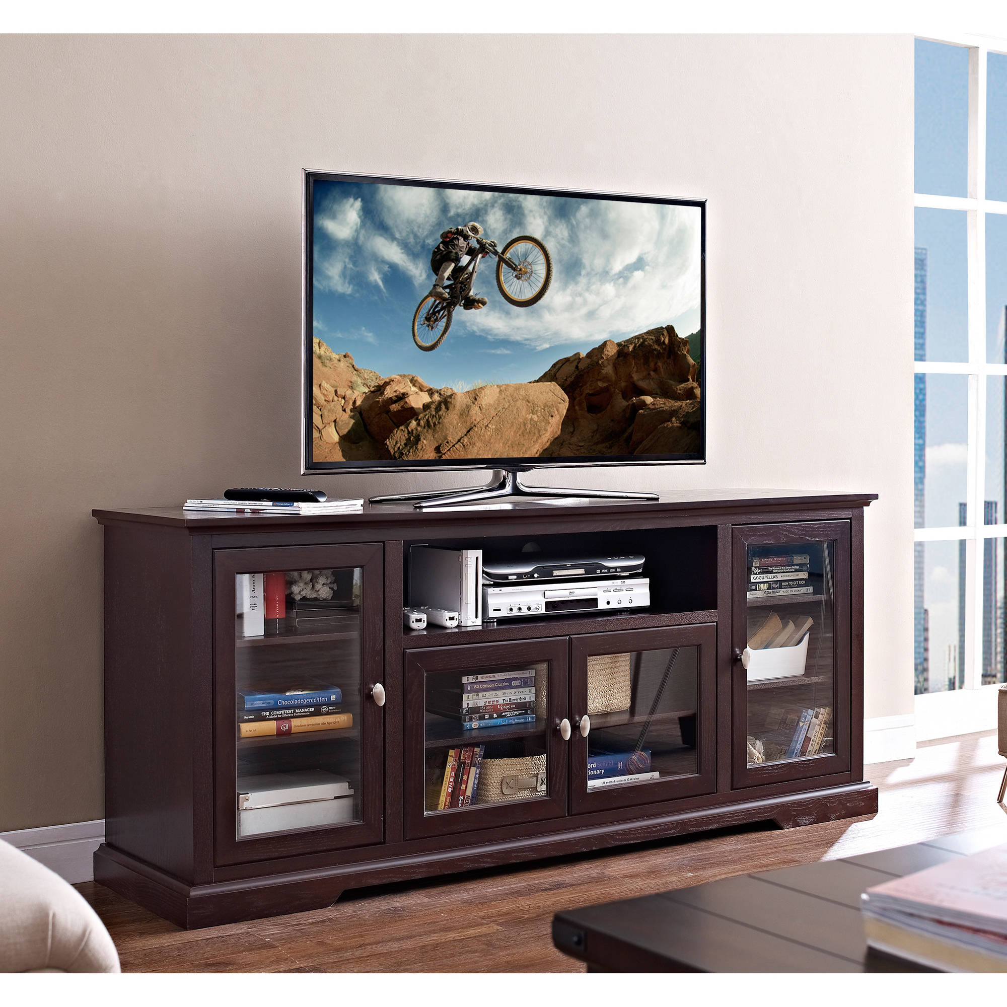 """Highboy Style Wood TV Stand for TVs up to 70"""", Multiple Colors"""
