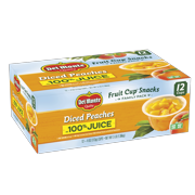 (12 cups) Del Monte Fruit Cup Snacks Diced Peaches in 100% Juice 4 oz. Fruit Cups